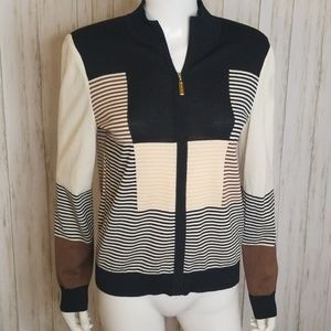 St. John Sport Colorblock Striped Zip Up Jacket